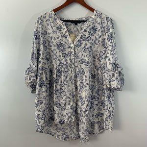 TAHARI . Linen Blend Tab Sleeve Tunic Top . 1X